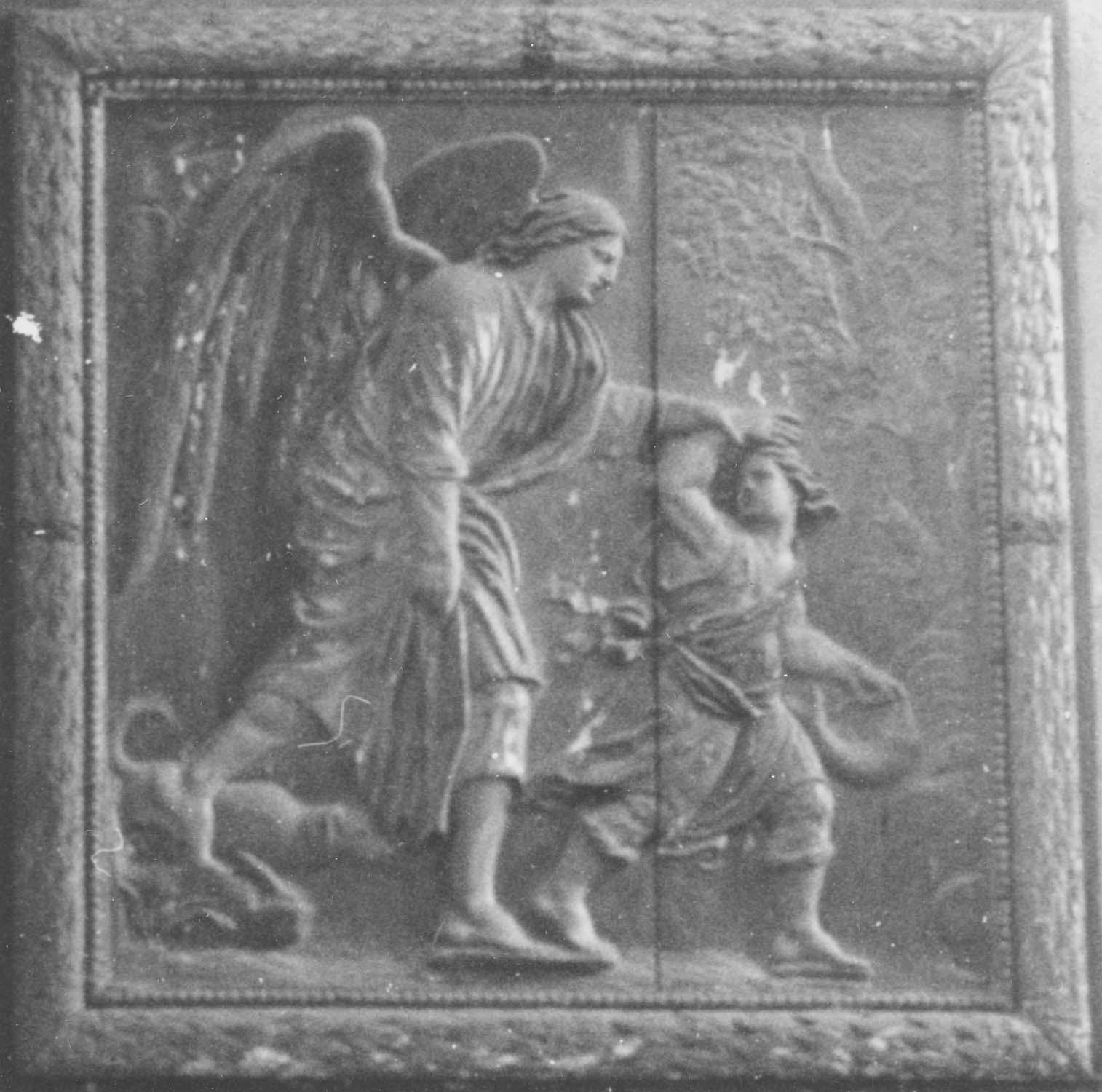 relief (panneau sculpté) : Voyage de Tobie et de l'archange Raphaël