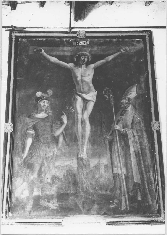 tableau : Le Christ en croix entre saint Sébastien et saint Blaise