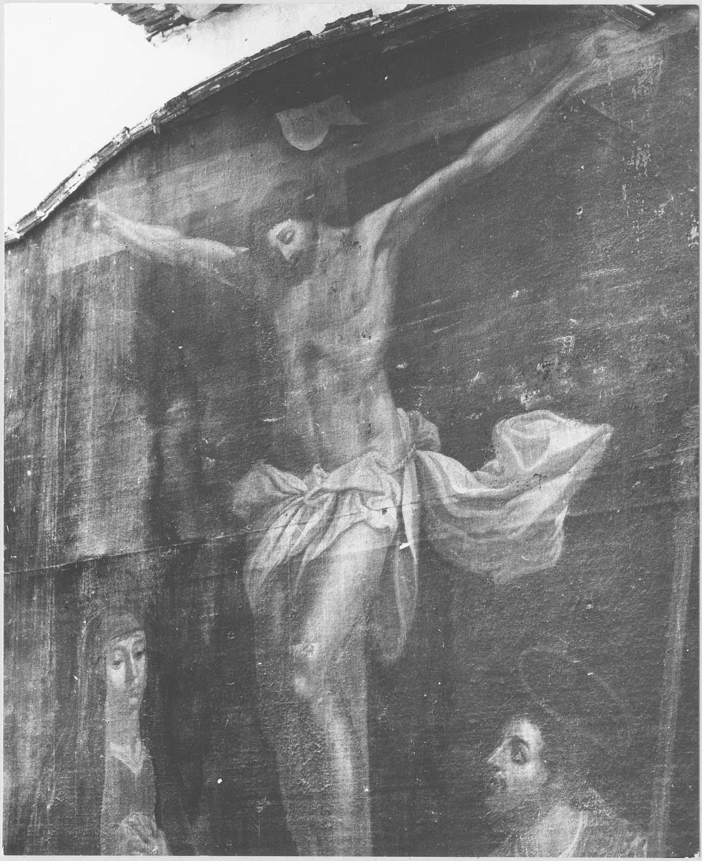 tableau : Le Christ en croix entre la Vierge et saint Martin