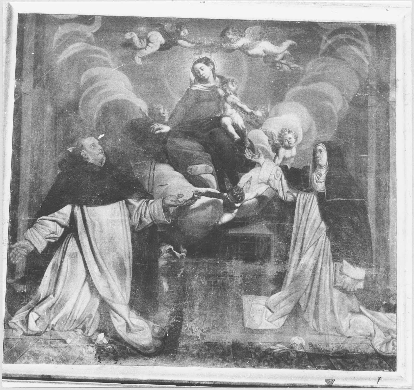 tableau : Vierge du Rosaire avec saint Dominique et sainte Catherine