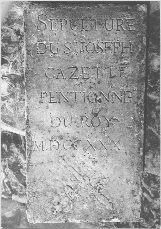 plaque funéraire de Joseph Cazette