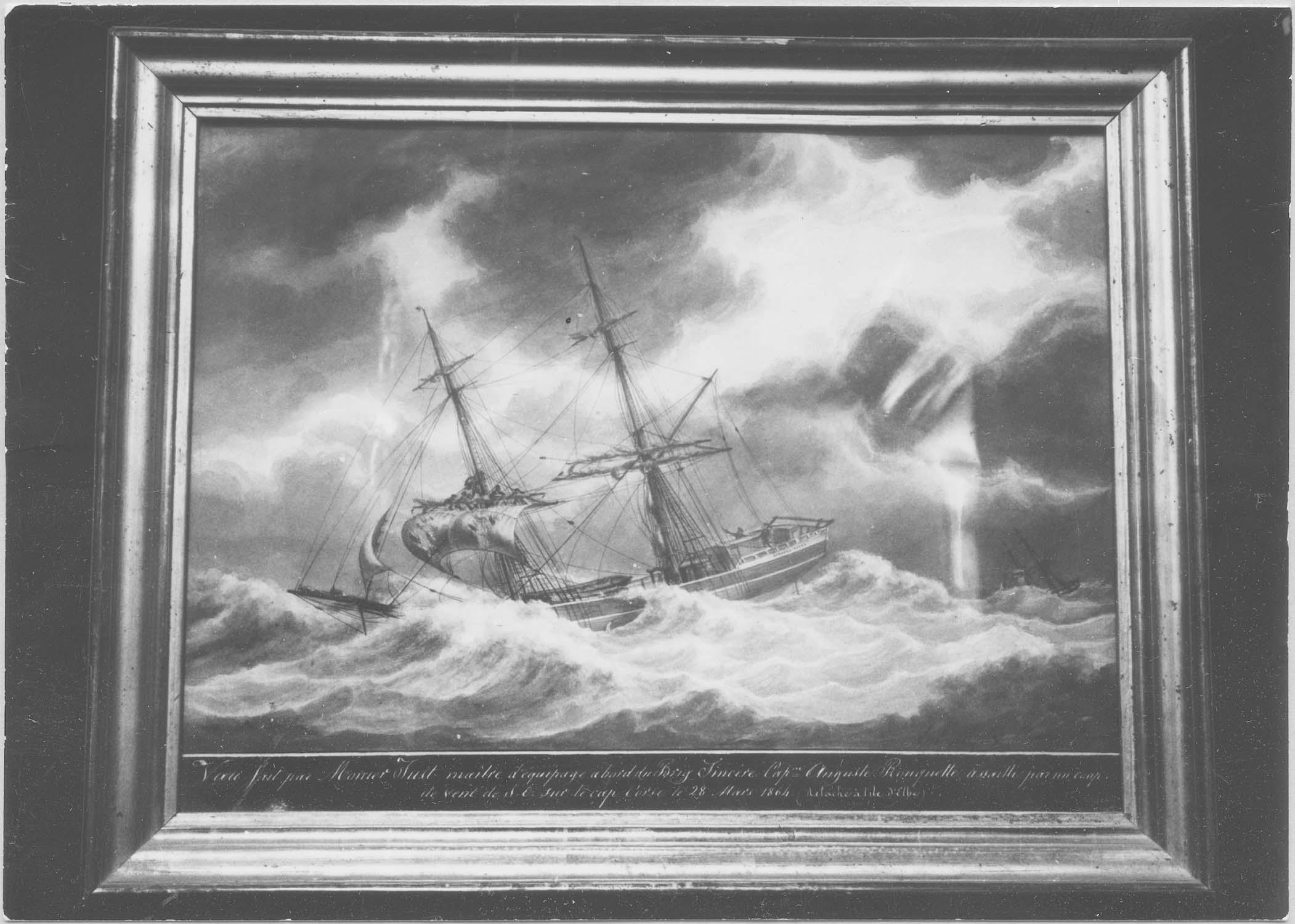 peinture ex-voto : bateau à voile dans la tempête, cadre