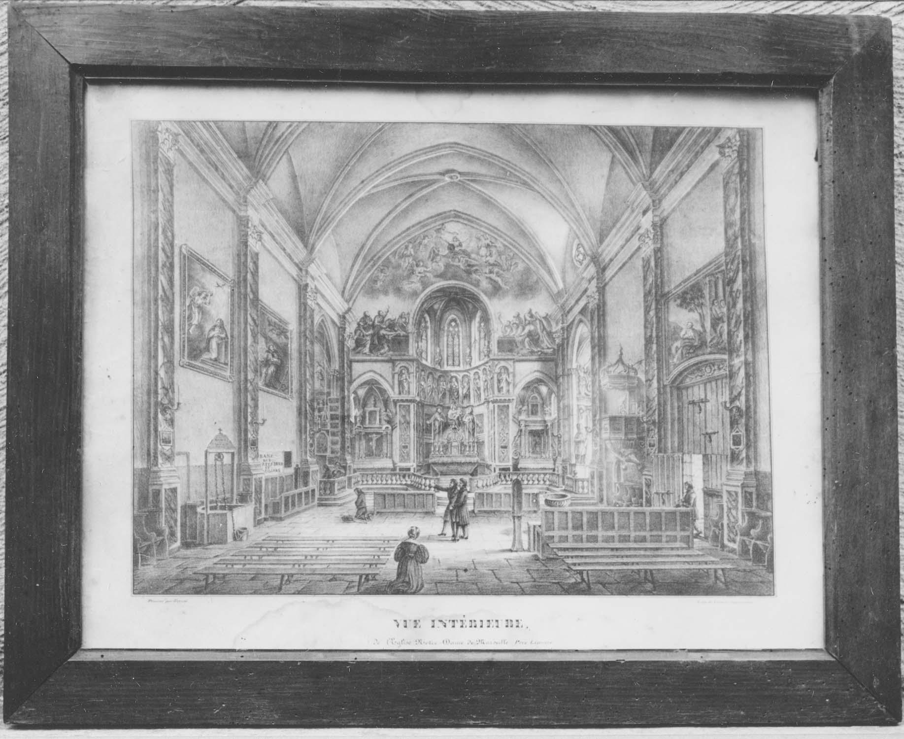 estampe ex-voto : vue intérieure de l'église Notre-Dame de Marceille