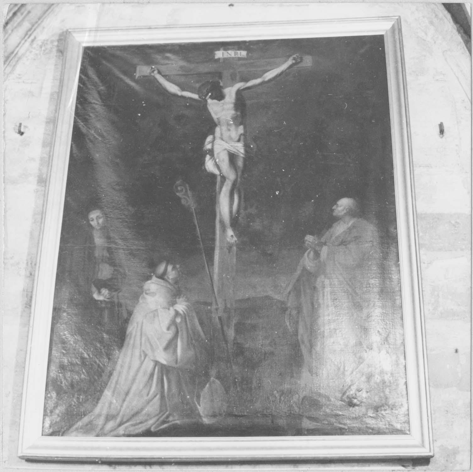 tableau : Christ en croix entre la Vierge, saint Bernard et saint Barthélémy