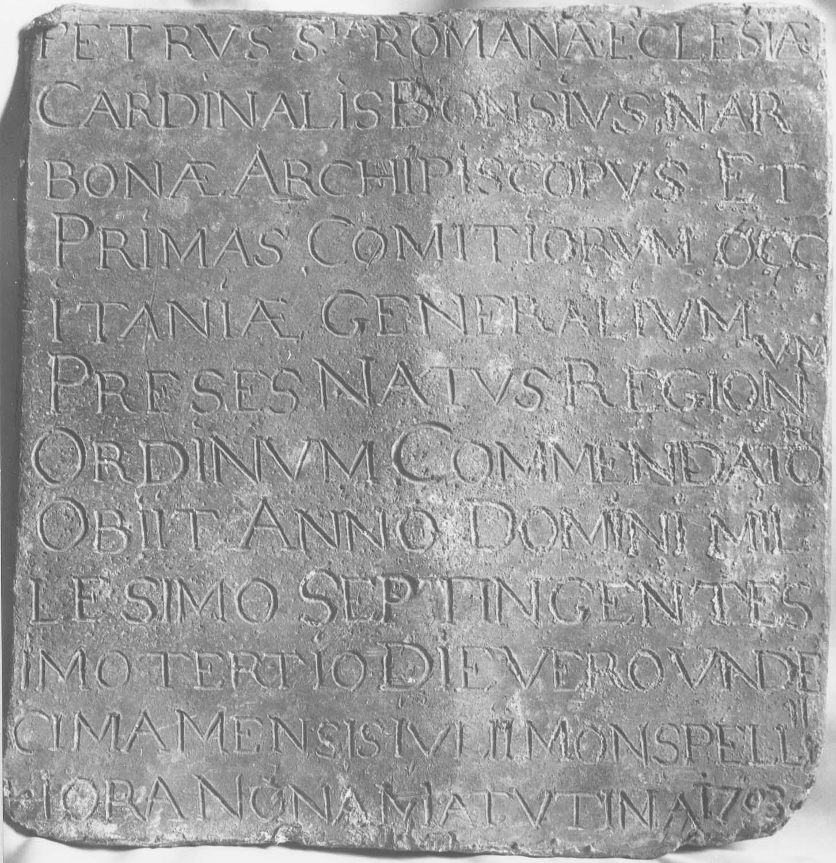 plaque funéraire du cardinal de Bonzi, archevêque de Narbonne