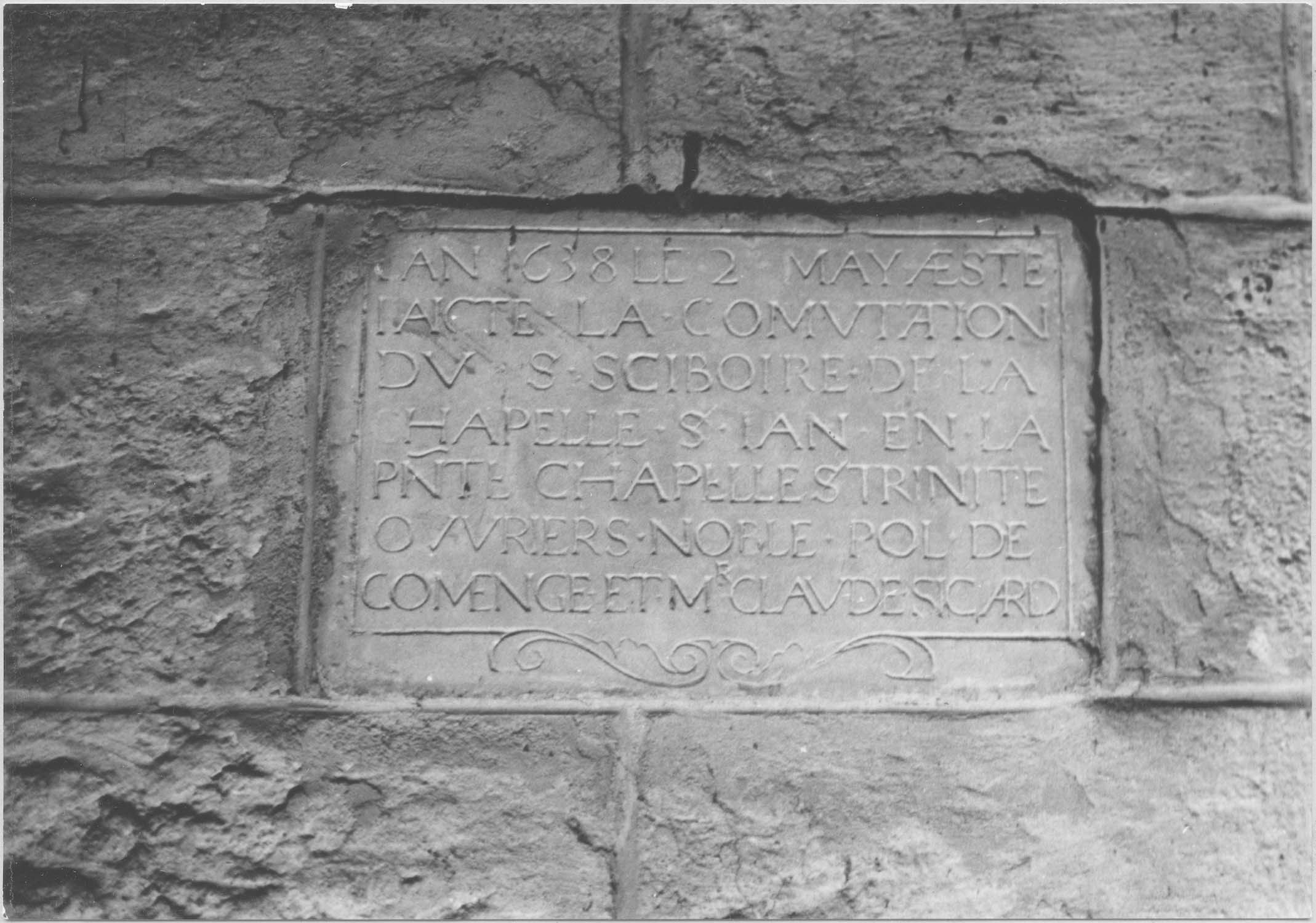plaque commémorative de la Comutation du saint Sciboire le 2 mai 1638