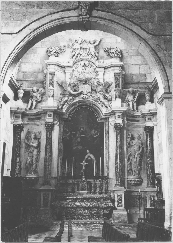 retable d'une chapelle du collatéral sud, tableau : Le Couronnement de sainte Thérèse par le Christ