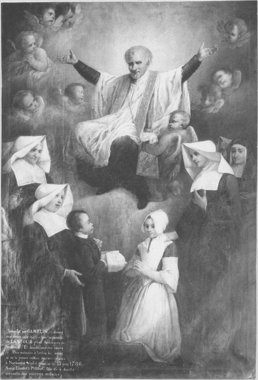 tableau : Les Filles de la Charité priant devant saint Vincent-de-Paul
