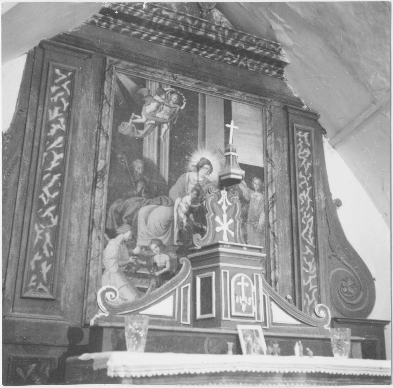 Tableau du maître-autel : La Vierge présentant l'Enfant Jésus à saint Martin