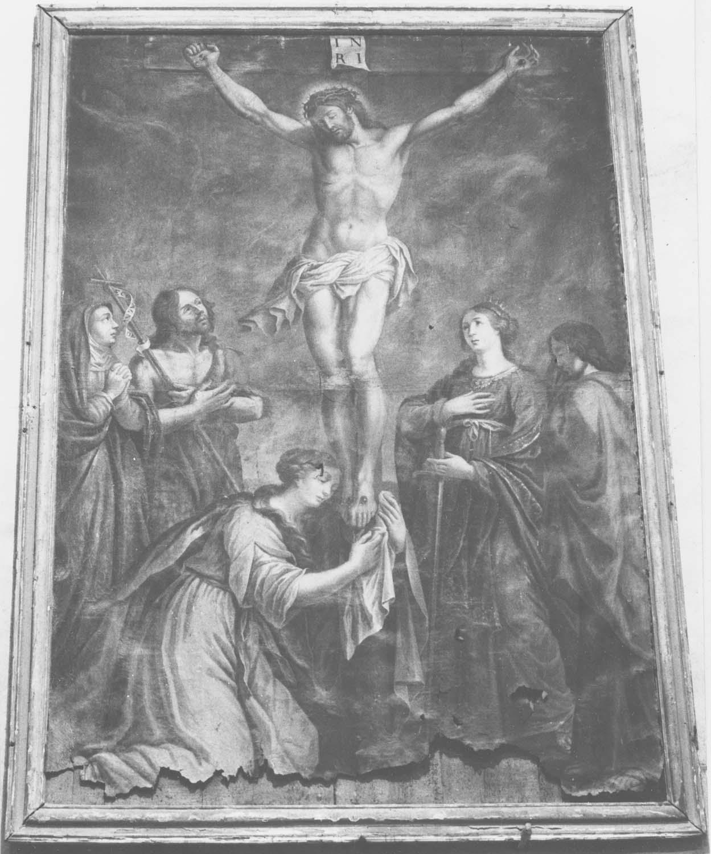 tableau : Le Christ en croix entre la sainte Vierge, saint Jean-Baptiste, sainte Madeleine, sainte Catherine et saint Jean