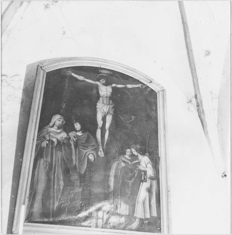 Tableau : Le Christ en croix entre la Vierge, saint Jean, saint Just et saint Pasteur