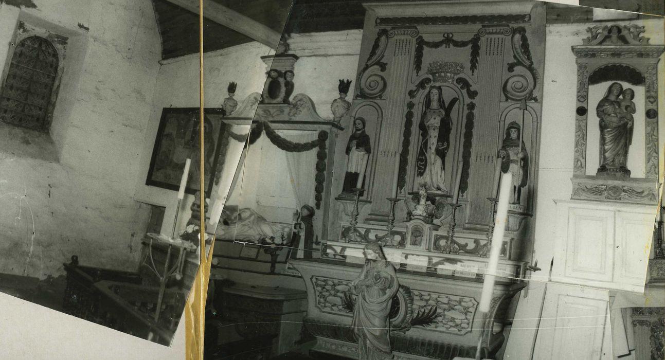 retable latéral nord, statue: Vierge à l'enfant, vue générale