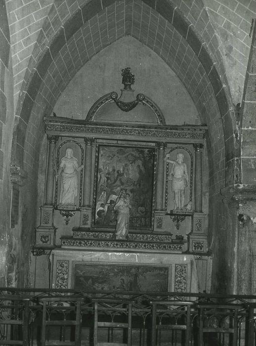 retable de l'autel secondaire nord et ses deux statues : Sainte Apolline et Saint Jean-Baptiste