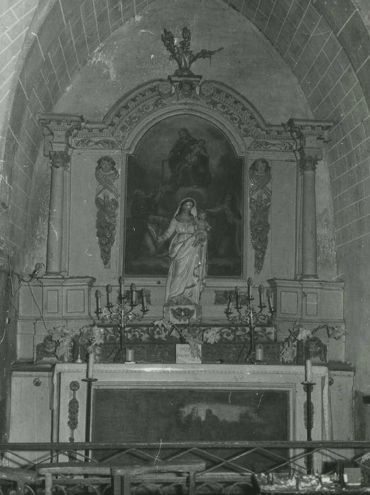 Retable de l'autel secondaire sud et son tableau : Le Rosaire