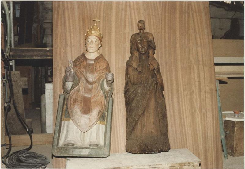 Statues (statuettes): saint Marcel pape, statue non identifiée, vue générale