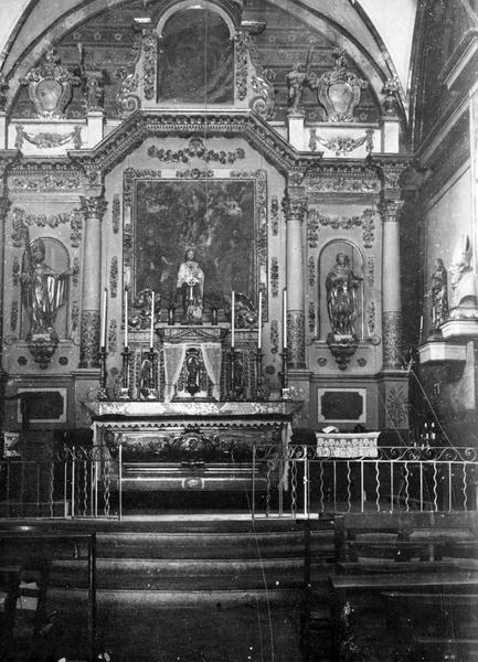 Autel, retable, 4 statues : saint Maximin, saint Bacqui, anges adorateurs (maître-autel), vue générale