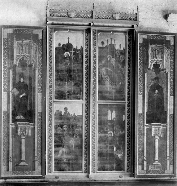 Tableau (triptyque) : quatre scènes de la passion, saint Maximin, saint Mitre