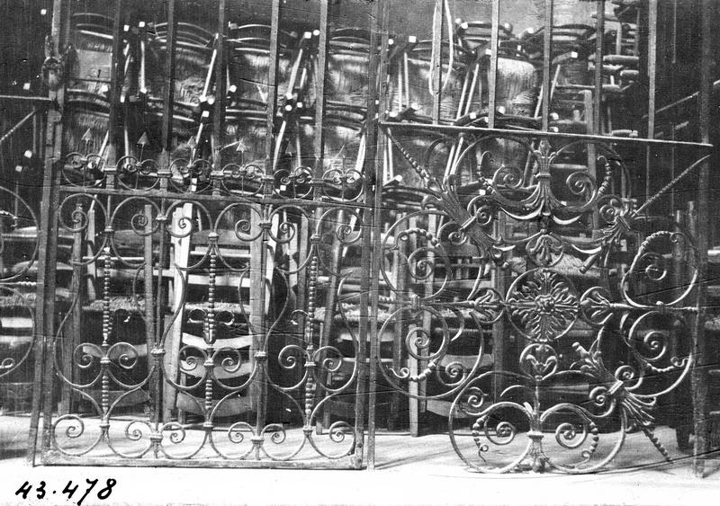 Clôture des fonts baptismaux, clôture de chapelle (grille)