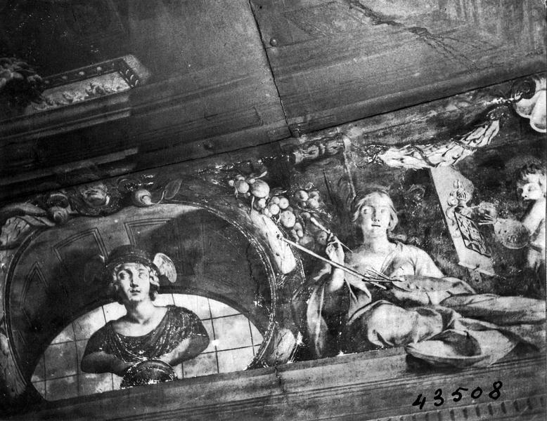 peintures monumentales et plafond (décor du grand escalier) : Le Triomphe de la Vertu, détail
