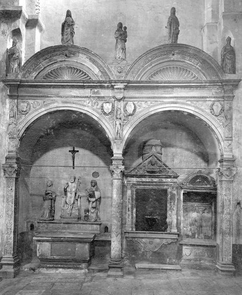 Autel, 3 statues : saint Lazare, sainte Marthe et sainte Marie-Madeleine