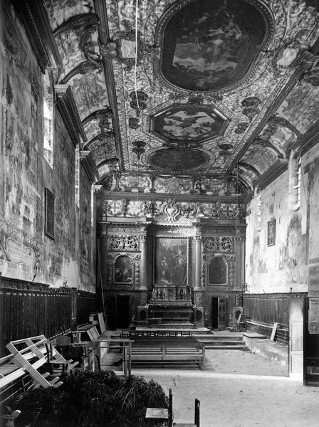 autel, retable, lambris de revêtement, vue générale