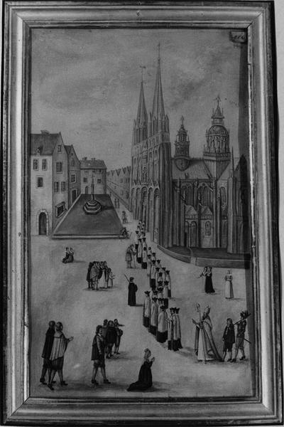 dessin reproduisant la Procession ou Vue ancienne de Bayeux