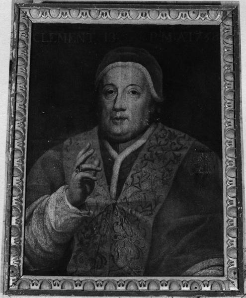 tableau et son cadre : portrait du pape Clément XIII (1693-1769)