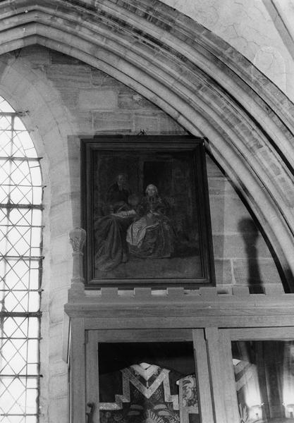 tableau : évêque écrivant avec un ecclésiastique à l'arrière-plan