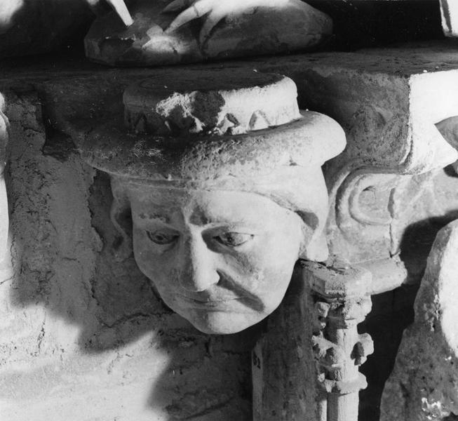 culot : tête d'homme coiffé d'un chapeau