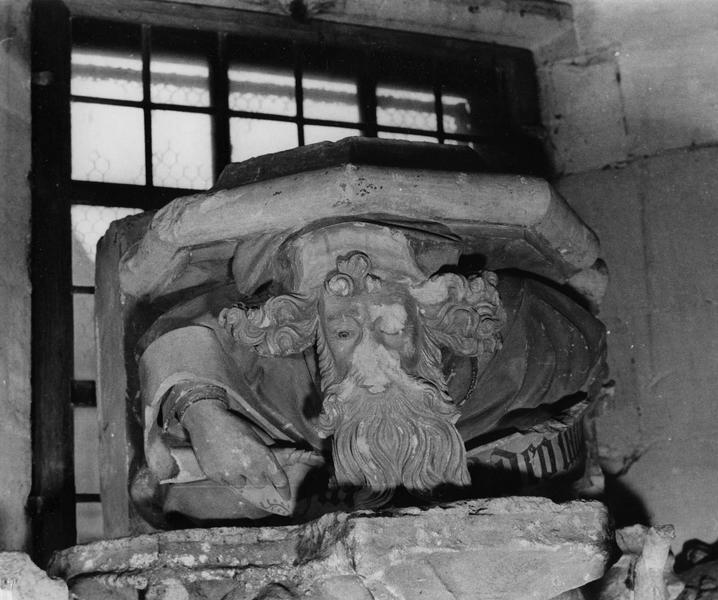 culot : buste de vieillard déroulant un phylactère