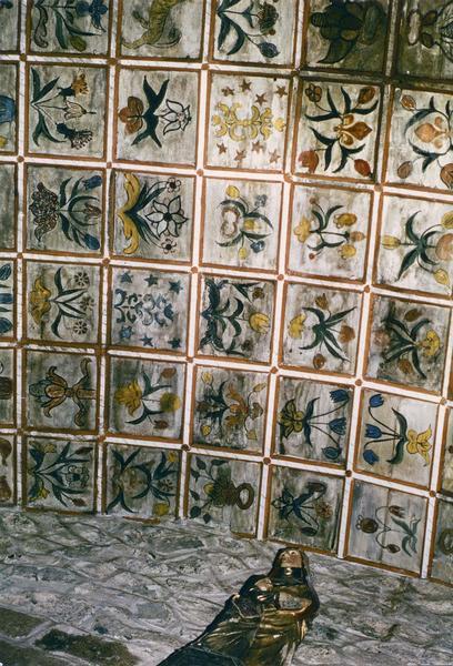 peinture des caissons de la voûte, au plafond