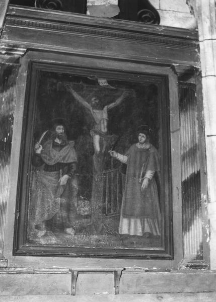 Autel, retable, tableau : Christ en croix entre saint Laurent et saint Barthélémy (le)