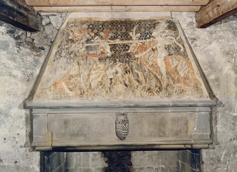 Peintures monumentales : Utilité de la messe des morts, scène d'un tournoi de chevaliers