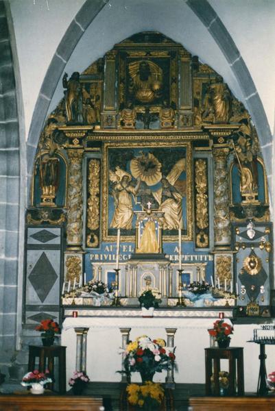 Autel, retable, tabernacle, 4 statues, 2 bustes-reliquaires, lambris de revêtement de la Vierge : saint Roch, saint Pierre, saint Blaise, saint Martin, saint Fabien, saint Sébastien