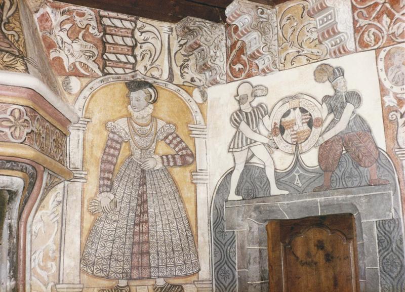 peintures murales : salle des Preux, fresques, une cheminée