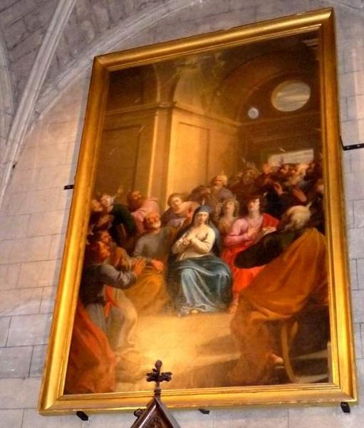 Tableau et son cadre : la Pentecôte, ou la Descente du Saint-Esprit