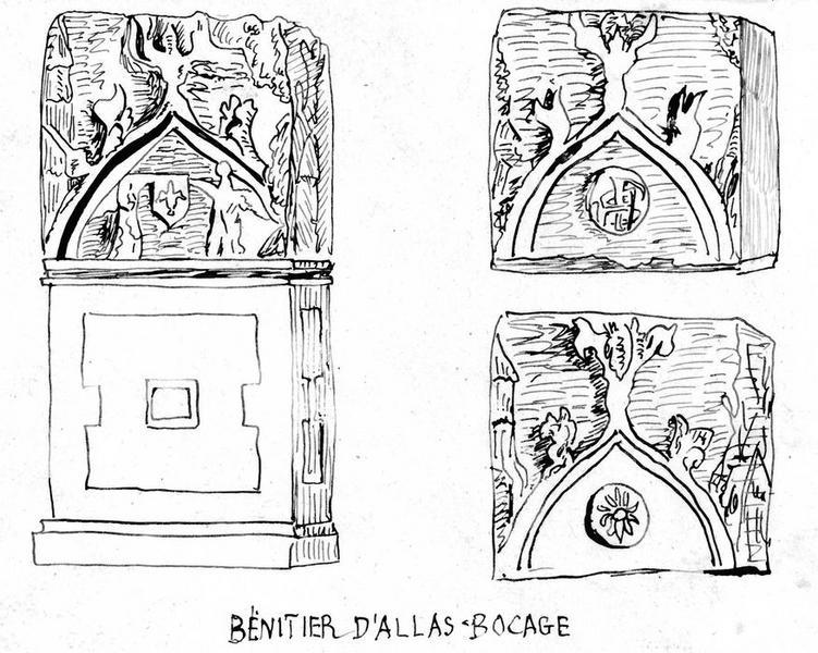 bénitier, vue générale, détails des éléments bas-reliefs
