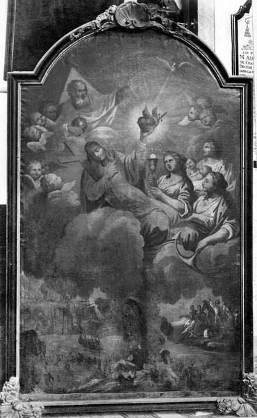 tableau, cadre : la foi, l'espérance et la Charité avec leurs attributs, le port de la Rochelle et une scène coloniale, vue générale