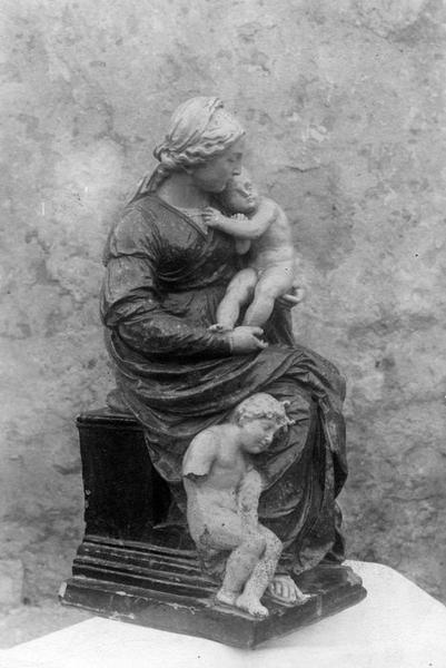 groupe sculpté : la Vierge avec l'enfant et saint Jean-Baptiste