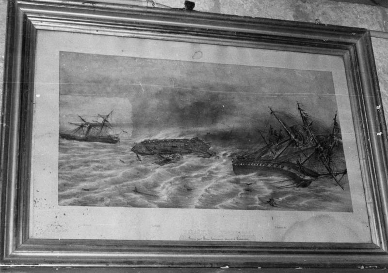tableau : trois navires, le Tonnerre, la Blanche et l'Andromède, faisant naufrage