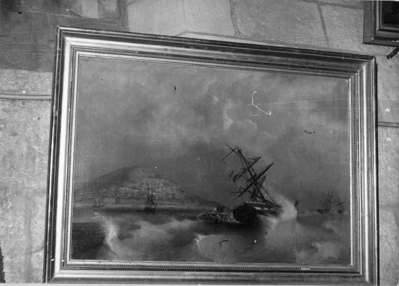 ex-voto, tableau : navire faisant naufrage