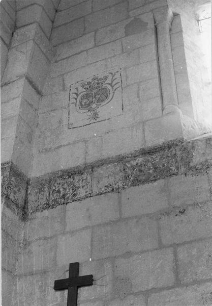 Peinture monumentale : titre funéraire des familles de Montulé et Chilleau, détail