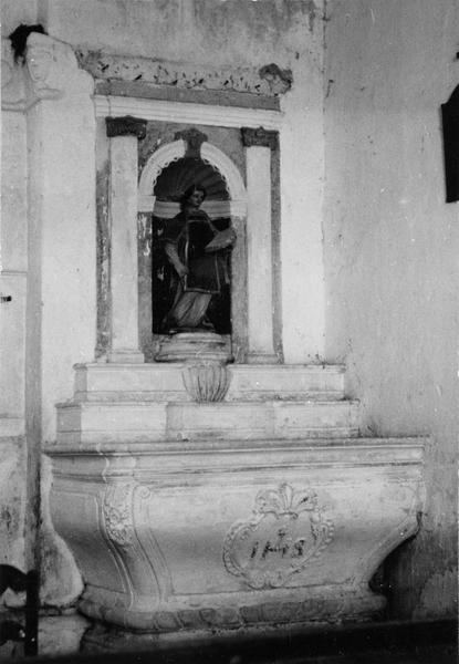 autel, retable, statue : saint Laurent