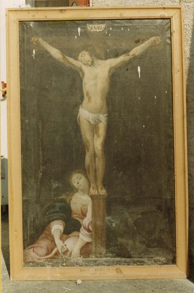 tableau : Christ en croix avec Marie Madeleine