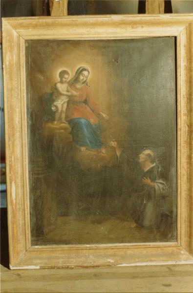 tableau : la Vierge à l' Enfant donnant le rosaire à Saint Dominique