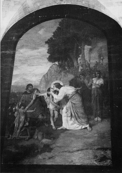 2 tableaux : le Christ et les enfants, Marie Madeleine lave les pieds du Christ