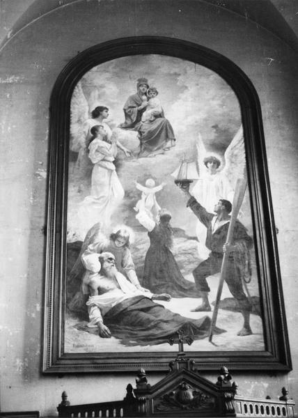2 tableaux : la Prière avant le naufrage, l'Invocation de la famille du marin à la Vierge