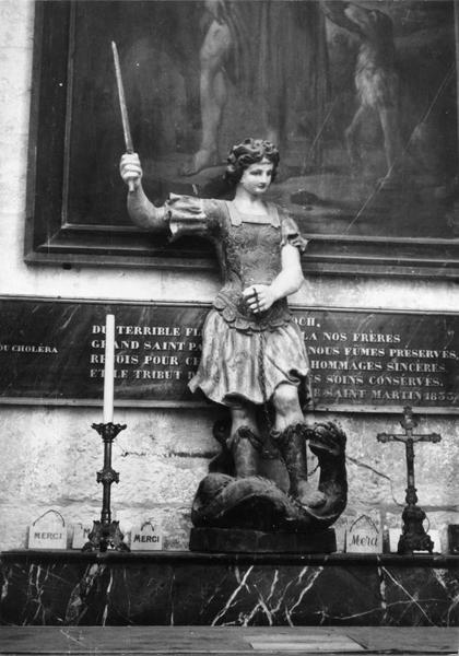 statue (petite nature) : saint Georges enchaînant le dragon