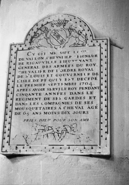 plaque funéraire, de Louis de vallon