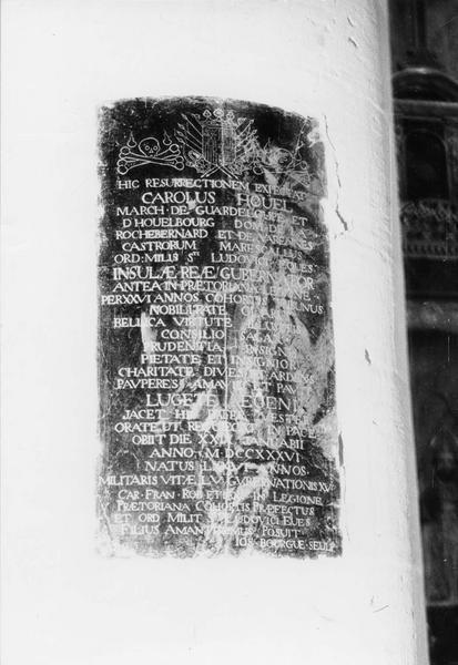 plaque funéraire, de Charles Houël